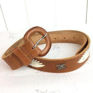 Western/boho leather belt with white lacing